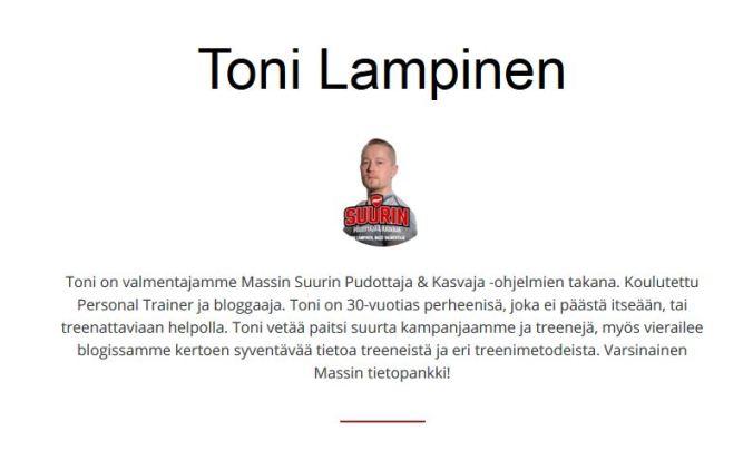 Mass valmentaja Toni Lampinen